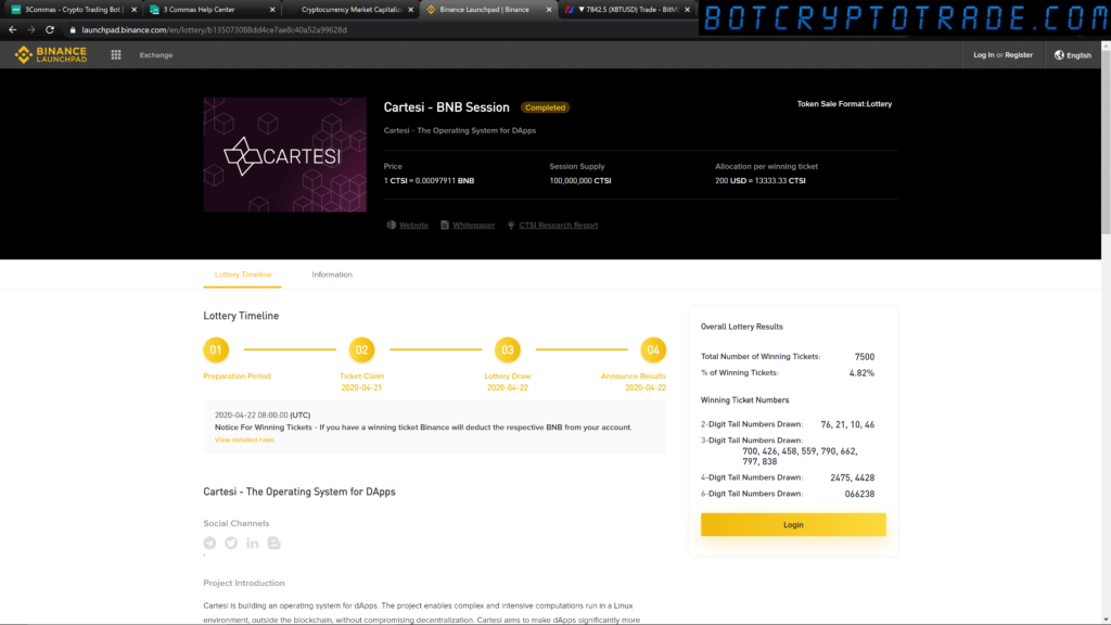 Binance Launchpad and Lottery